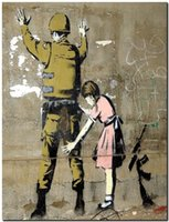 bedroom wall stencils - BANKSY STREET ART CANVAS PRINT Girl Searches soldier quot X quot stencil poster