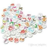 alphabet cuff links - 100Pcs Holes Mixed Painted Letter Alphabet Round Wooden Sewing Button Children Kids Scrapbooking Decor cm