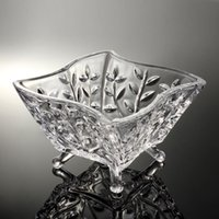 Wholesale Lugu creative modern living room fruit plate dried fruit plate fruit plate glass crystal fruit plate candy dish Continental Authentic
