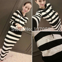 Wholesale 2014 brand new womens autumn Striped trend hooded dress long sleeve casual slim maxi dress
