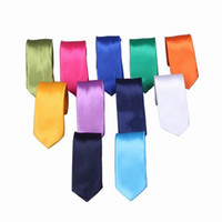 Wholesale Newest Korean Style Men Slim Tie Solid Color Plain Skinny Necktie For Wedding Party Colors Choose ENJ