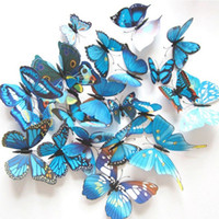 Wholesale Hi Quality cm Vivid D Duplex Printing Blue Butterfly Fridge Refrigerator Magnet Stickers Home Decor Wedding Party Gift Toy