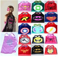Wholesale 10pcs Styles cm Superhero Kids Superman Cape Superman Batman Spiderman Supergirl Batgirl Robin kids Christmas Halloween cape Y04