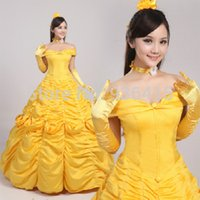 belle princess costume - princess belle costume beauty and the beast cosplay fantasy halloween costumes for women party dress gift gloves