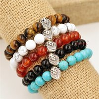 Cheap 1PCS Nature 8mm agat Energy Stone Beads Bracelet Silver Lion head Charm Bracelet Yoga Mala Bracelets