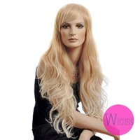 Curly kanekalon wigs - Female Glamorous Charming fashion super long blonde gold wave Kanekalon Fiber Synthetic women Wig Hair fashion lady Wig Hair H9329Z