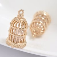 Wholesale 24K Real Gold Plated mm Hollow Out Birdcage With Zirconia Pendant Little Cage Charm For Pendant Or Bracelet