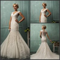 Wholesale 2015 Amelia Sposa V Neck Cap Sleeve Lace Tulle Mermaid Wedding Gowns Appliqued Fit Flare Sheer Backless Plus Size Bridal Party Dresses