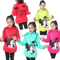 Wholesale 2016 New arrival girls winter coats children winter outwear down jacket for girls mickey minnie mouse Down Parkas