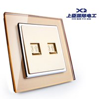 Wholesale The minister steel switch socket panel two telephone socket champagne gold glass