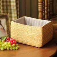 corn husk - Rustic rattan corn husk single handle drawer storage basket debris basket