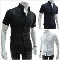 houndstooth - Spring Summer Mens Short Sleeved Dress Shirts Unique placket Houndstooth fine grid Spell color Slim Fit Casual Shirts