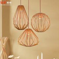 Wholesale Pendant Lightings Solid Wooden Chandeliers Retro Diamond Shape Minimalist Oval Indoor Lighting Circular Vintage Study Lamps