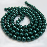 Wholesale BSI Dark Emerald Inches Strand Of Satin Luster Glass Pearl Round Beads mm Jewelry Making