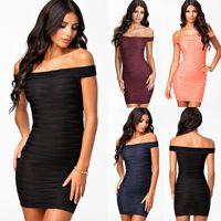 pink bandage dress - Sexy Women Slim Bodycon Bandage Off Shoulder Cocktail Evening Party Mini Dress