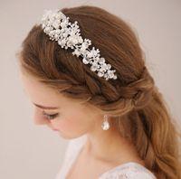 beaded flower pin - Vintage Wedding Bridal Crystal Rhinestone Pearls Hair Accessories Flowers Pieces Pins Headband Beaded Princess Tiara Jewelry Suppliers