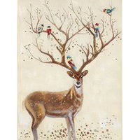 One Panel amazing hand painting art - Amazing Deer Hand painted Oil Painting on Canvas Modern Animal Drawing Mural Art for Living Room Office Wall Decoration