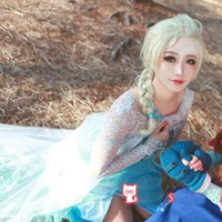 Wholesale Synthetic Frozen Snow Wig Cartoon Children Cosplay Hair Wigs Princess Queen Elsa Anna Fluffy Long Curly Blonde Braid Free UPS Factory Price