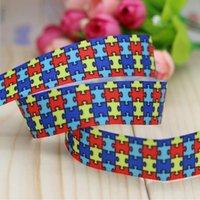 autism grosgrain ribbon - 7 quot mm Popular Autism Awareness Printed Grosgrain Ribbon for Bows Crafts Decorations Yards