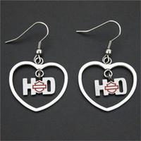 alphabet love - 3pairs biker style hot selling love heart earrings l stainless steel fashion jewelry motor biker popular design lovers earrings