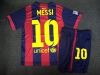 Wholesale Spain La Liga Top Barcelona Kids kits MESSI jersey NEYMAR JR MESSI PIQUE XAVI A INIESTA Children youth soccer jerseys