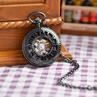 Wholesale Black Retro Shield Mechanical Hand Winding Pocket Watch Luxury Gift Men Fashion Designer Roma Numbers Full Hunter FOB Watch