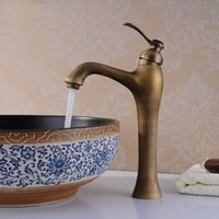 bathroom tap tops - Top grade Unique Deck Mounted Bathroom Kitchen Basin Faucet Antique Pattern Mixer Tap Bathroom Faucet water tap faucetHJ F