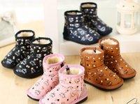 Wholesale 2014 Winter New Arrival Boys Girls Shoes Korean Kids Rivets Snow Boots Plus Velvet Child Boys Girls Boots Warm Leisure Shoes L0626