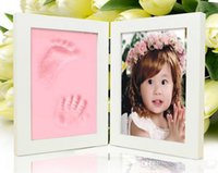 Cheap Wooden Picture Frames for Photo Baby Hand and Foot Prints Inkpad Infant Baby Photo Frame marcos para fotos porta retrato