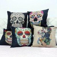 Cheap Wholesale-45cm*45cm Home Vintage Cotton Linen Skull Pillowcase Skull Cushion Pillow Case Pillowcase Bed Covers
