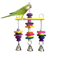 Wholesale Colorful Wooden Cage Hanging Swing Parrot Bird Toys Bird Funny Toy G01342