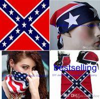 bandana fabric - 600pcs cm cotton confederate headband flag hiphop bandanas civil war battle bandana headwrap rebel civil war flag outdoor kerchief