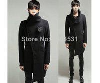 Cheap Fall-New Men's Stylish Special Rare Irregular Mod Winter Trench Coat Jacket Outwear Tops Overcoat In 3 Colors Size M~XXL