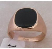 Wholesale Exquisite K Rose Gold GP Black Onyx Men s Ring Size can mix Provide tracking number
