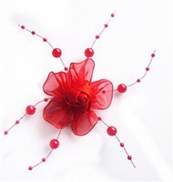 red ribbon rose - Wedding Bride Headdress Flowers Hair Accessories White Pink Red Ribbon Rose Chiffon Petal Flower Plastic Gypsophila Decoration