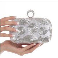 Wholesale New Satin Evening Bag Finger Ring Diamond Party Purse Clutch Bag Hot Dot Beaded Wedding Bag Shoulder Handbag NO