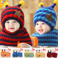 Hats, Scarves & Gloves Set Others Others Wholesale-2015 Fashion Bees style striped boys Knitted hats winter 2 pcs baby girl scarf hat fur set Age for 8 months-4 Years Old