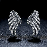 Wholesale Majestic Feathers Phoenix Wing Stud Earrings in Genuine Sterling Silver with Clear CZ Elegant Pandora Style Earrings for Women ER024