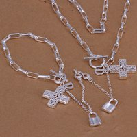 amber cross - heavy g silver jewelry set Checkered chain hanging cross piece DFMSS004 High quality silver necklace charm bracelet x8 inches