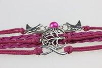 Wholesale F09498 F09499 F09500 Multi element Silver Tree Pearl Birds quot quot Multilayer Woven Bracelet