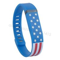 Wholesale Fitbit Flex US Flags Hearts Printing Replacement Band Soft TPU Wireless Wristband Activity Bracelet Wrist Strap with Metal Clasp