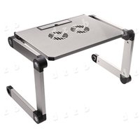 Wholesale Portable Silver Foldable Folding Adjustable Laptop Notebook Table Stand Desk Degree with Cooling Fan Pad