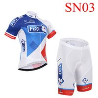 team wear - 2015 FDJ Team Cycling jerseys set breathable bike wear red blue colors for choice vintage wool short sleeves cycling jersey Newest styles