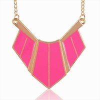 beaded pink bib collar - Fashion Pink Enamel Chic Gold Plated Collar Necklace Femme Party Metallic Bib Statement Pendant Necklace For Women