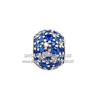Wholesale NEW S925 Sterling Silver Charm Bead Sky Mosaic Pavé Lights Charm Fits European Style Jewelry Bracelets Necklaces Pendant BE254