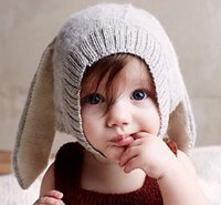 Wholesale new Spring Autumn baby kids casual all match knitted leisure lovely bunny hats