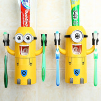 Wholesale Despicable Me Cute Minions Design Set Cartoon small yellow people Toothbrush Holder Automatic Toothpaste Dispenser Brush Cup