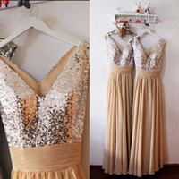 Cheap Hot Sale In Stock Bridesmaid Dress Shinny A Line V Neck Sleeveless Sequins Ruched Waist Chiffon Long Formal Cheap Prom Gowns
