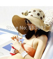 Wholesale Designers Folding Sun Helmet Hollow Straw Hat For Women Summer Beach Cap Bow Ribbon Hats Floppy Hat Colorful Retail amp