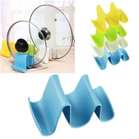 Wholesale Pieces Plastic Pot Pan Spoon Lid Storage Stand Holder Rack Utensil Cooking Tool Kitchen Wave design